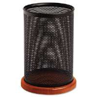 Distinctions Jumbo Metal and Wood Pencil Cup, 4 1/2 dia. x 6 1/2, Black/Cherry