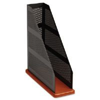 Distinctions Metal/Wood Magazine File, 3 3/4 x 10 1/4 x 12 7/16, Black/Cherry
