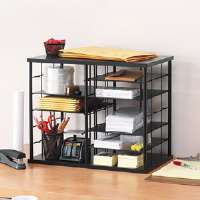 12-Slot Organizer, MDF, Desktop Sorter, 21 x 11 3/4 x 16, Black