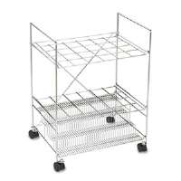 Chrome Wire Roll File, 24 Compartments, 22-1/2w x 14-5/8d x 32-1/4h