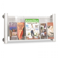 Luxe Magazine Rack, 3 Compartments, 31-3/4w x 5d x 15-1/4h, Silver/Clear