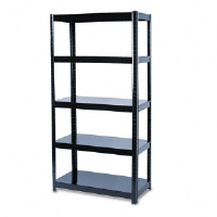 Boltless Steel Shelving, 5 Shelves, 36w x 18d x 72h, Black