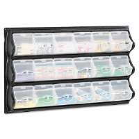 Polypropylene Panel Storage w/18 Bins, 34 x 51/4 x 20 1/2, Black