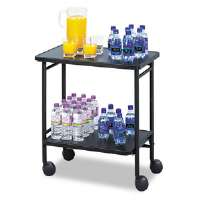 "Folding Office/Beverage Cart, 2-Shelf, 25"" x 15"" x 30"", Black"