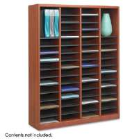 60 Compartment Wooden Literature Organizer - Cherr