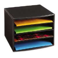 "Four-Section Desktop Sorter, 10 1/4"" x 10 1/4"" x 7 1/2"", Black"