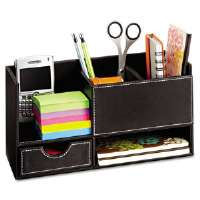 Safco Leather Look Desktop Supply Organizer, 11 1/4 x 5 x 6, Black