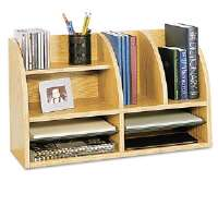 Radius Front Organizer, Eight Sections, 25 7/8 x 9 5/8 x 15 1/4, Medium Oak
