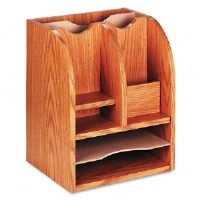Radius Front Corner Organizer, Eight Sections, 13 1/4 x 11 x 16 1/2, Oak