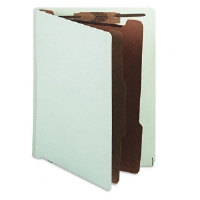Pressboard End Tab Classification Folder, Letter, Six-Section, Pale Green