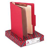Top Tab Classification Folders, Two Dividers, Six-Section, Red, 10/Box