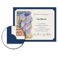 Certificate Holder, 12 x 9-1/2, Navy, Linen, 105 lbs., 10/Pack
