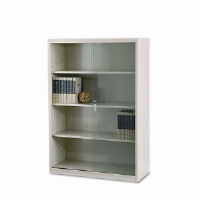 Executive Steel Bookcase W/ Glass Doors, 4 Shelves, 36w x 15d x 52h, Putty