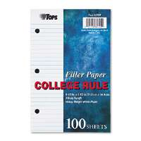 Filler Paper, 20-lb., 8-1/2 x 5-1/2, College Rule, White, 100 Sheets/Pack