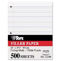 Filler Paper, 16-lb., 11 x 8-1/2, College Rule, White, 500 Sheets/Pack