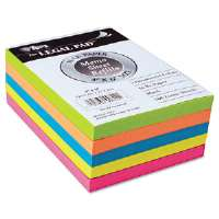 Assorted Fluorescent Color Memo Sheets, 4 x 6, 500 Loose Sheets/Pack