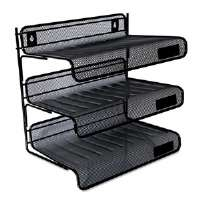 Mesh Three-Tier Desk Shelf, Letter, Black
