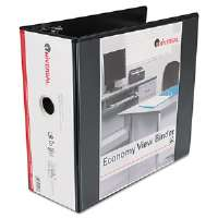 "Economy D-Ring Vinyl View Binder, 5"" Capacity, Black"