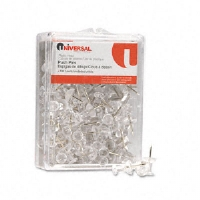"Colored Push Pins, Plastic, Clear, 3/8"", 100/Pack"