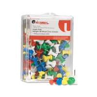 Colored Push Pins, Plastic, Rainbow, 3/8&quot;, 100/Pack
