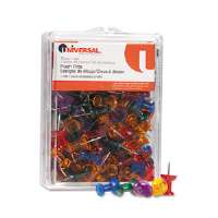 Colored Push Pins, Plastic, Gemstone, 3/8&quot;, 100/Pack