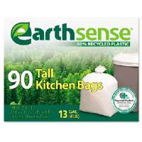 Recycled Can Liners, 13gal, .7 mil, 23.5 x 29.75, White, 90 Bags/Box