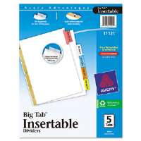 WorkSaver Big Tab Dividers, Multicolor Tabs, 5-Tab, Letter, White