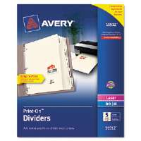 Print-On Dividers, 5-Tab, 3-Hole Punched, 8-1/2 x 11, Ivory, 1/Set