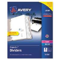 Print-On Dividers, 8-Tab, 3-Hole Punched, 8-1/2 x 11, White, 1/Set