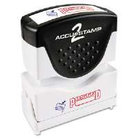 Accustamp2 Shutter Stamp with Microban, Red/Blue, POSTED, 1 5/8 x 1/2