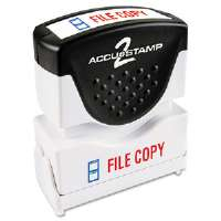 Accustamp2 Shutter Stamp with Microban, Red/Blue, FILE COPY, 1 5/8 x 1/2