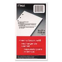 6-Ring Memo Book Refill, College Rule, 6HP, 6-3/4 x 3-3/4, 80 Sheets, White