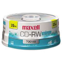 CD-RW Discs, 700MB/80min, 4x, Spindle, Silver, 25/Pack-630026