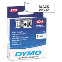 D1 Standard Tape Cartridge for Dymo Label Makers, 3/8in x 23ft, Black on White-41913