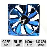 Bgears b-ice 140mm Silent Chrome Sleeve Bearing Fan - 140mm, 83CFM, 1500RPM, Blue LEDs, Blue