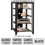 Bush Furniture Midnight Mist Audio Tower - Textured Black Paint (AD44840-03)