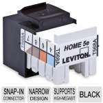 Leviton Home 5e Snap-In Jack - For T568-A Wiring, Narrow Design, Supports High Megabit & Shared-sheath Applicatons, Black (004-5EHOM-RE5)