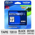 "Brother TZe131 1/2"" Black on Clear Laminated Tape"