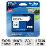 "Brother TZe-241 P-Touch Laminated Tape - 3/4""(0.7""), Black on White Tape, 26.2 FT"