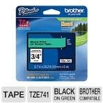 Brother TZe-741 P-Touch 3/4&quot; (0.7&quot;) Black on Green Tape (26.2 FT) 