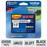 "Brother TZe-231 P-Touch 1/2"" (.47"") Black on White Tape (26.2 FT), 2-Pack"