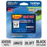 Brother TZe 1312PK Laminated Tape - Black on Clear, Roll 0.47 in x 26.3 ft, 2 Rolls