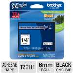 Brother TZe111 Laminated Adhesive Tape - For P-Touch, Black on Clear, 6mm Roll