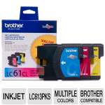 Brother LC613PKS LC61 Cyan / Yellow / Magenta 3-Pack of Ink Cartridges