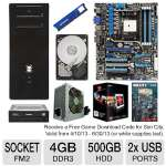 Asus FM2 F2A85-V Pro MoBo, AMD A10-5800K 3.8GHz Radeon HD7660D APU, ADATA 4GB DDR3 Desktop Memory Module, Seagate 500GB HDD, samsung 24x DVDRW, Kingwin 750W PSU, & ENYLE E-Series ATX Mid Tower Bundle