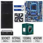 GIGABYTE 760G MoBo, AMD Athlon II X3 450 Triple Core Processor, 2x ADATA 4GB DDR3 Desktop Memory Module, Samsung 24x DVDRW, Ultra xBlaster Case w/450W Power Supply, & Kingwin 120mm Case Fan Bundle