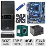 GIGABYTE 760G MoBo, AMD Athlon II X3 450 Triple Core Processor, ADATA 4GB DDR3 Desktop Memory Module, Samsung 24X DVDRW, Thermaltake 500W PSU, Thermaltake V3 Blk Edt Mid Tower Case, & Case Fan Bundle