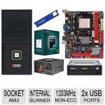 Biostar A780L3C Motherboard, AMD Athlon II X3 450 Triple Core Processor, ADATA Premier Srs 4GB DDR3 Desktop Memory Module, Samsung Internal 24X DVDRW, Ultra 550W PSU, & Raygo MT MicroATX Case Bundle