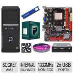 Biostar AMD A780L3C MoBo, AMD Athlon II X3 450 Triple Core CPU, ADATA Premier Srs 4GB DDR3 Desktop Memory Module, Samsung 24X DVDRW, Case w/450W PSU, Kingwin Case Fan, & Color Research DVD Pack Bundle