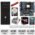 Asus FM2 F2A85-M Pro MoBo, AMD Quad-Core A10-5800K 3.8GHz Radeon HD 7660D APU, Kingston HyperX Red 4GB Memory Module, Ultra LS600 Lifetime Series 600W PSU, Toshiba 1TB HDD,  ENYLE E-Series Case Bundle